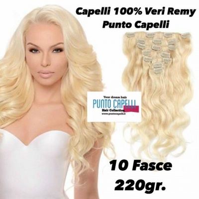 220gr. Extension Clip Capelli Indiani 10 Fasce