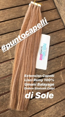 Extension Biadesive Adesive Capelli Lisci Remy 100% Umani Balayage Colore 6/18   40 Strisce 100gr.