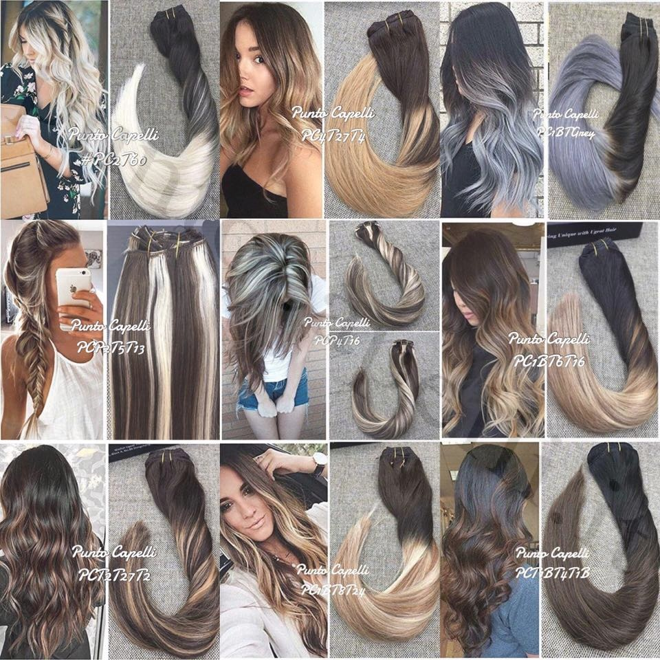 Clip 7 Pieces 120g Balayage Ombre Highlighted Remy Human Hair Extensions