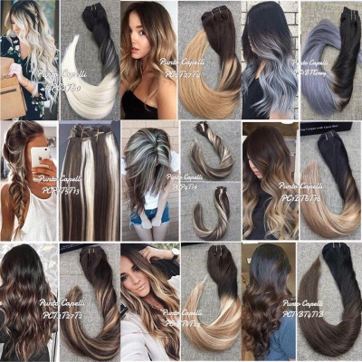 Clip 7 Pieces 120g  Balayage Ombre Remy Human Hair Extensions