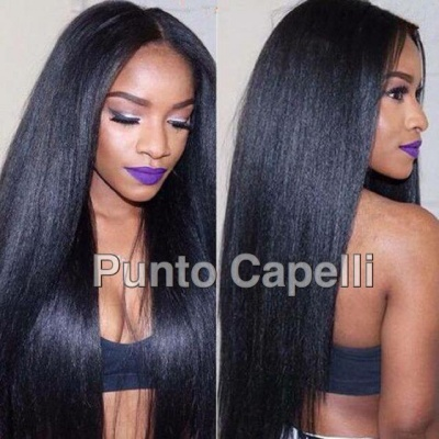 Yaki Straight Full Lace Human Hair Wigs With Baby Hair Brazilian Remy Hair Wig