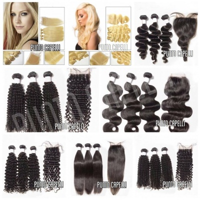 Set 3 Extension Tessitura Capelli Remy 100% Umani Vergini + 1 Lace Closure